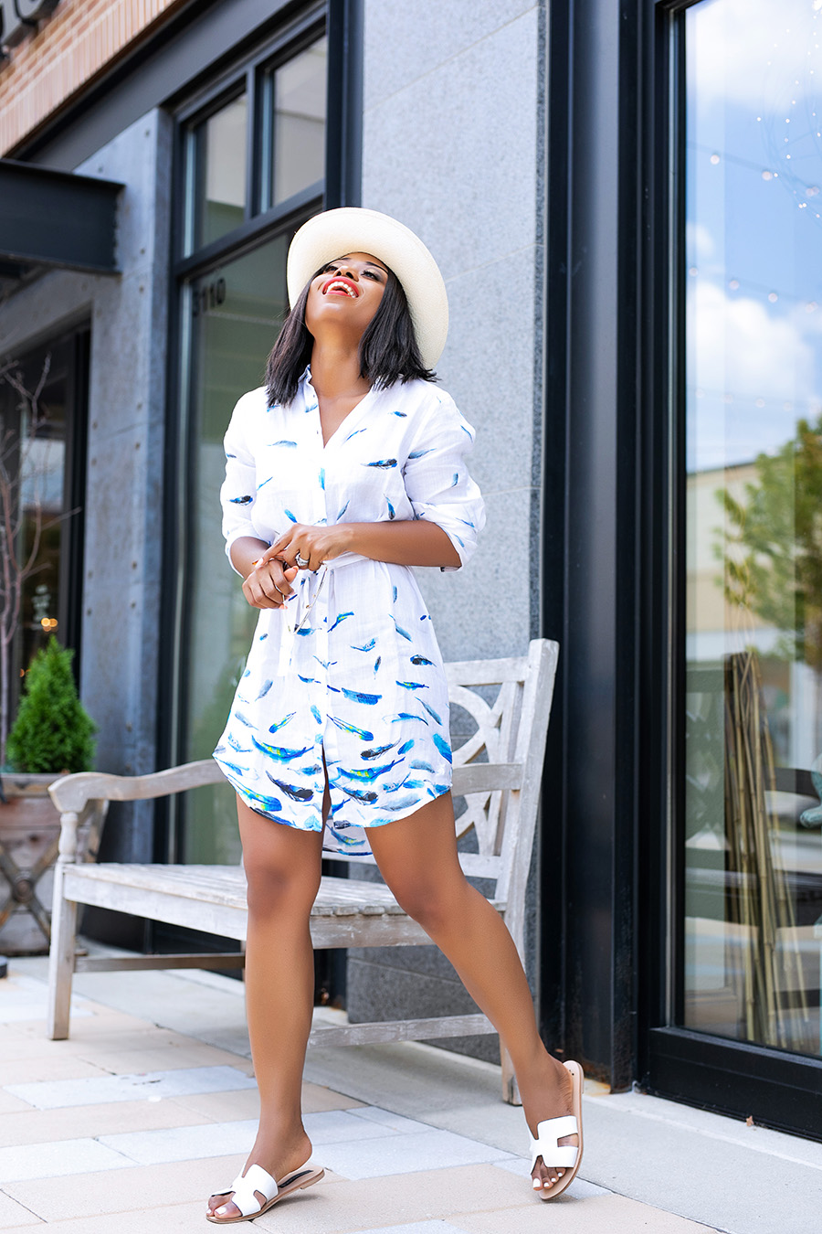 Vilebrequin dress shirt and straw hat, summer vacation, www.jadore-fashion.com