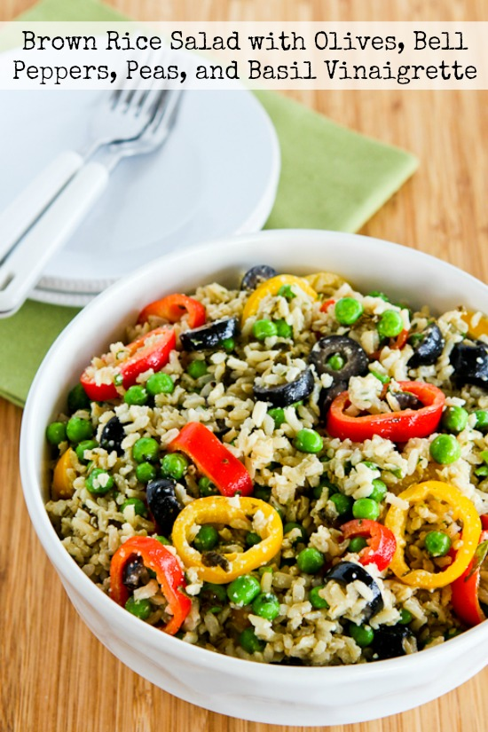 Brown Rice Salad with Olives, Bell Peppers, Peas, and Basil Vinaigrette found on KalynsKitchen.com