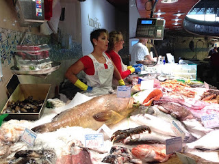 Fish at the La Boqueria market in Barcelona