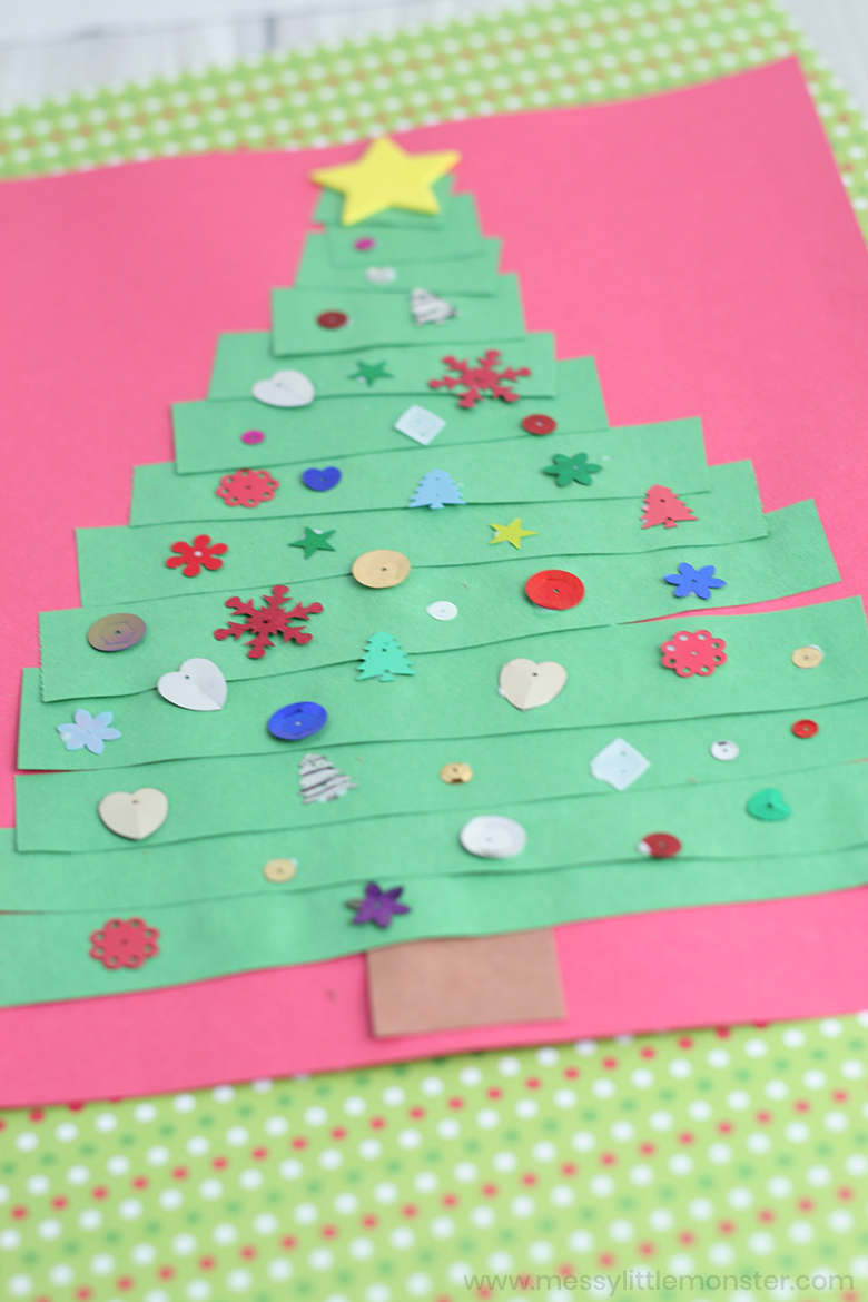 Toddler Christmas Card Paper Strip Christmas Tree Craft Messy