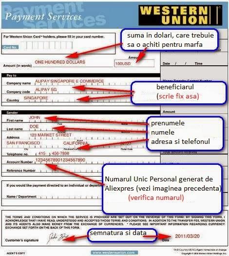 Formular transfer western union