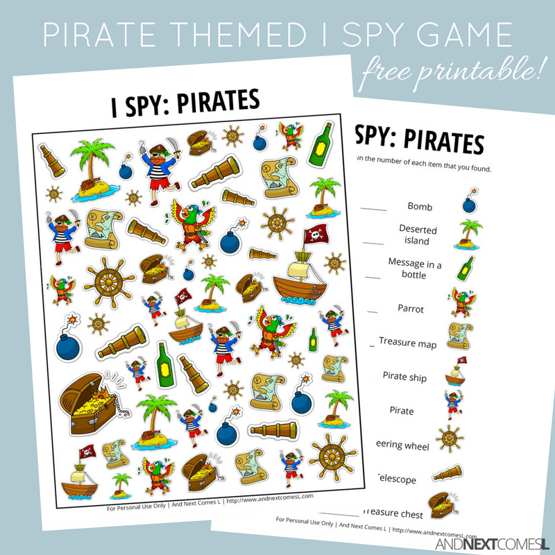 picture regarding Pirates Printable Schedule named Pirates I Spy Sport Free of charge Printable for Children And Following Arrives L