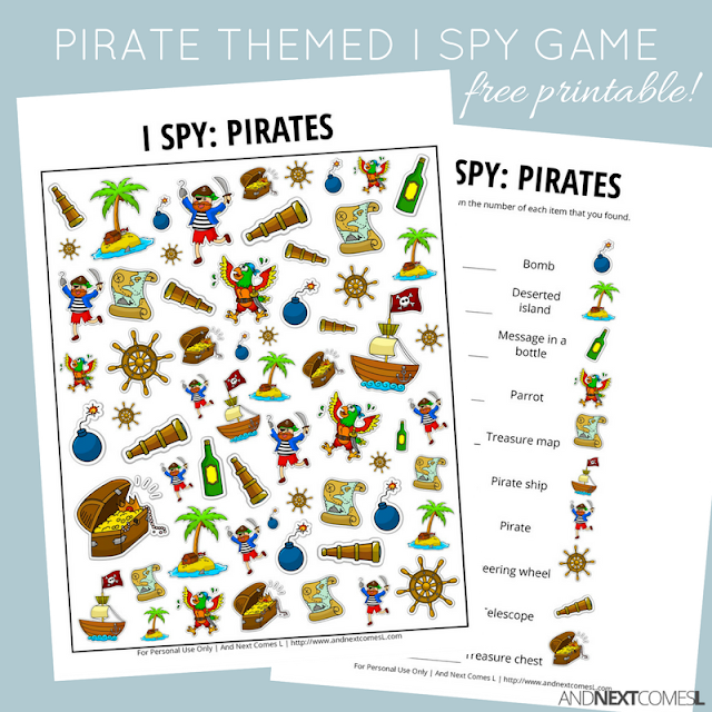 Free pirate themed I Spy game for kids from And Next Comes L