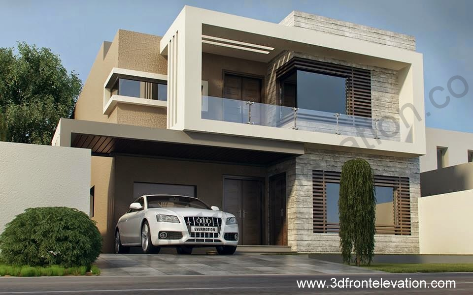 3d front february 2016 for Images of front view of beautiful modern houses