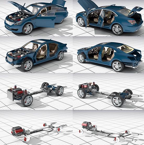 3dsMax高精度汽車開關門動畫3D模型下載