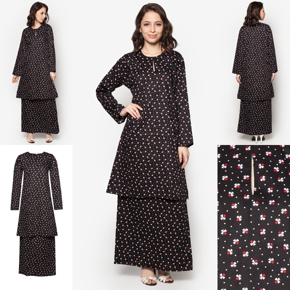 Baju Kurung Cotton Warna Black Red - Baju Raya 2016