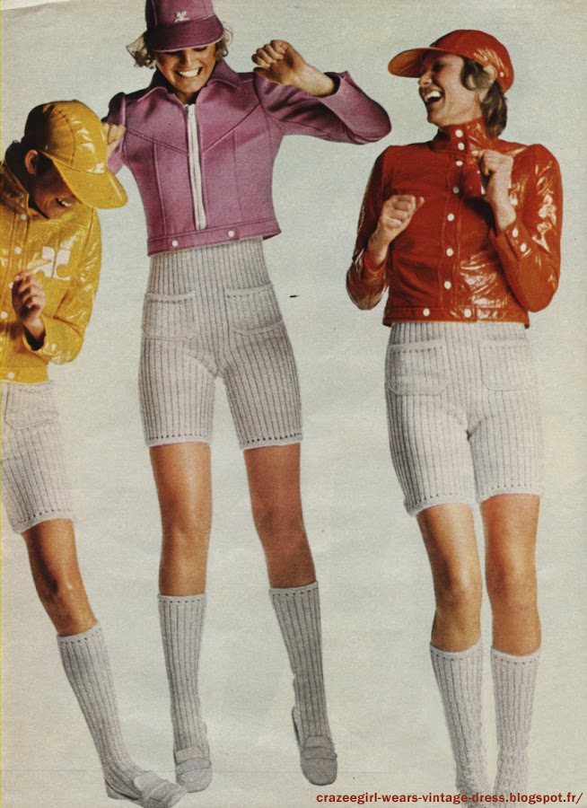 """André Courrèges - Vive la France ! 1970 1971 fashion mode couture haute couture 1970 70s années 60 70 1960 60s  Il avait prévu avant tout le monde le retour au court , mais André Courrèges n'est pas seulement un grand couturier , c'est aussi un grand nageur, un grand skieur, un grand joueur de rugby . Sa philosophie : on travaille pour vivre mais la vraie vie, c'est les vacances , la montagne , la campagne , la mer . Sa mode , une mode sportive , gaie , vivante. Et accessible : un grand nombre de modèles diffusés sous le nom d' """" Hyperbole"""" ou de """"Maille"""" coutent moins de 500 f .  Un pull à manches courtes et son short en coton cotelé . Courrèges """" Maille """" et édités en couleur .Brassière à capuchon et bermuda. Poches pressionnées . lacets coulissés dans des oeillets . Vinyl doublé d' éponge quadrillée . Complémentaires : le collant """"total"""" en tricot à côtes , les gants à manchettes en vinyl , les bottes lacées .Des combinaisons bermuda à martingale et des blousons couleurs de bonbons en vinyl . Variantes : petit col officier et pressions ou empiècement et glissière géante . Casquettes et chaussettes assorties ."""
