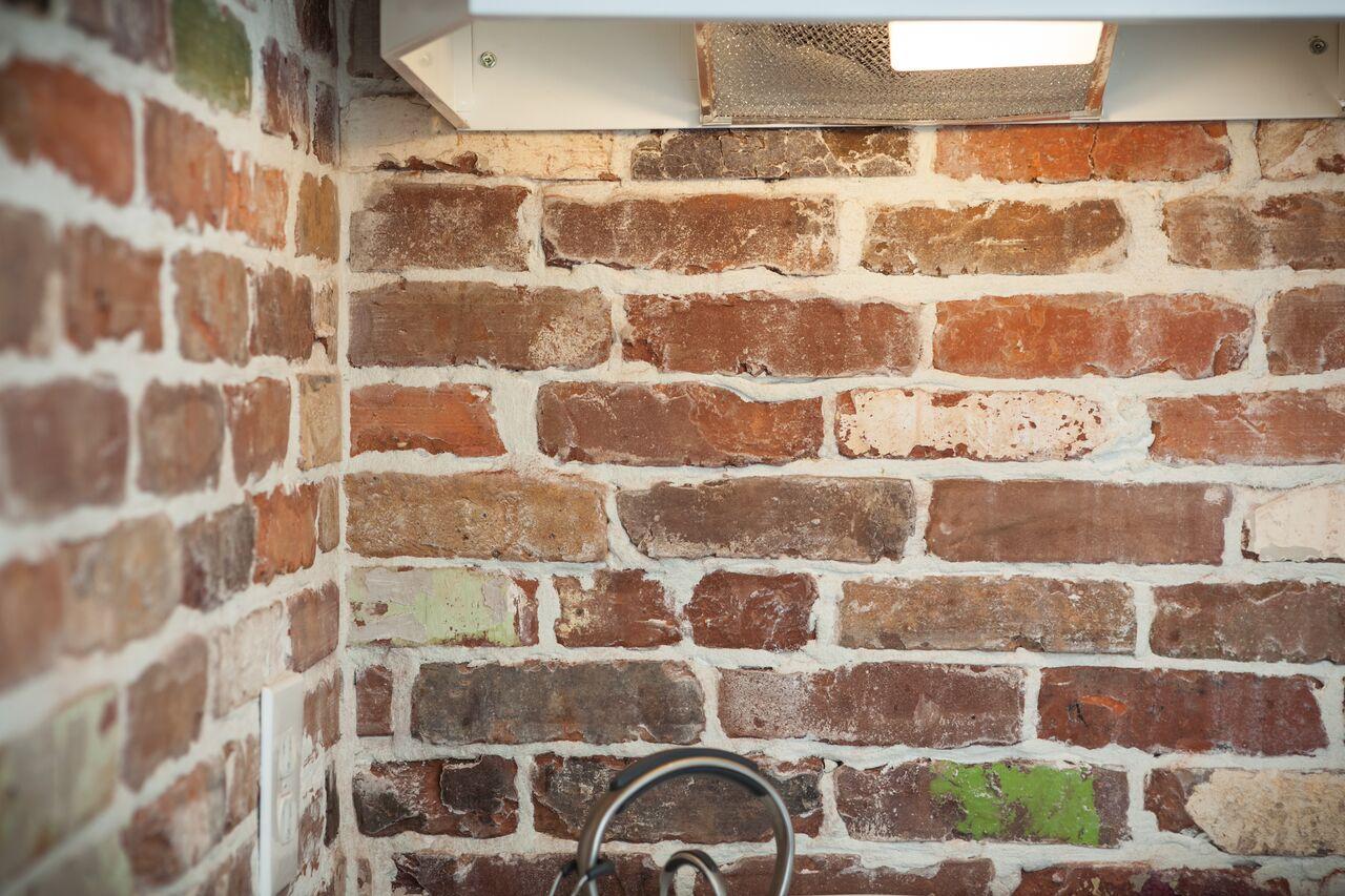reclaimed thin brick tiles kitchen backsplash from vintage bricks