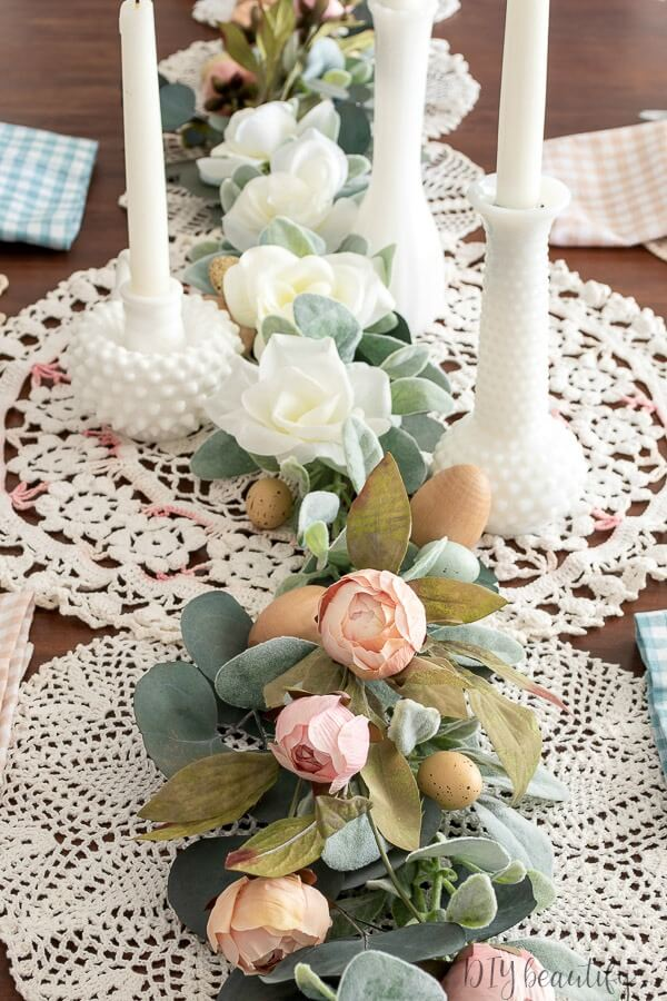 vintage doilies, blush florals and milk glass