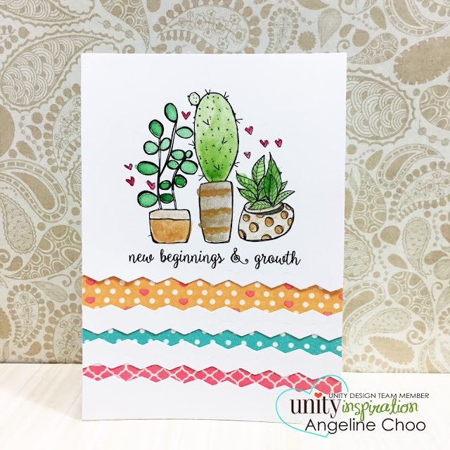 ScrappyScrappy: Angela's Birthday Celebration with Unity Stamp - New Beginnings card #scrappyscrappy #unitystampco #papercraft #card #cardmaking #stamp #stamping #handmade #handmadecard #gansaitambi #watercolor #quicktipvideo #youtube #video #washi #sizzix #borderdie