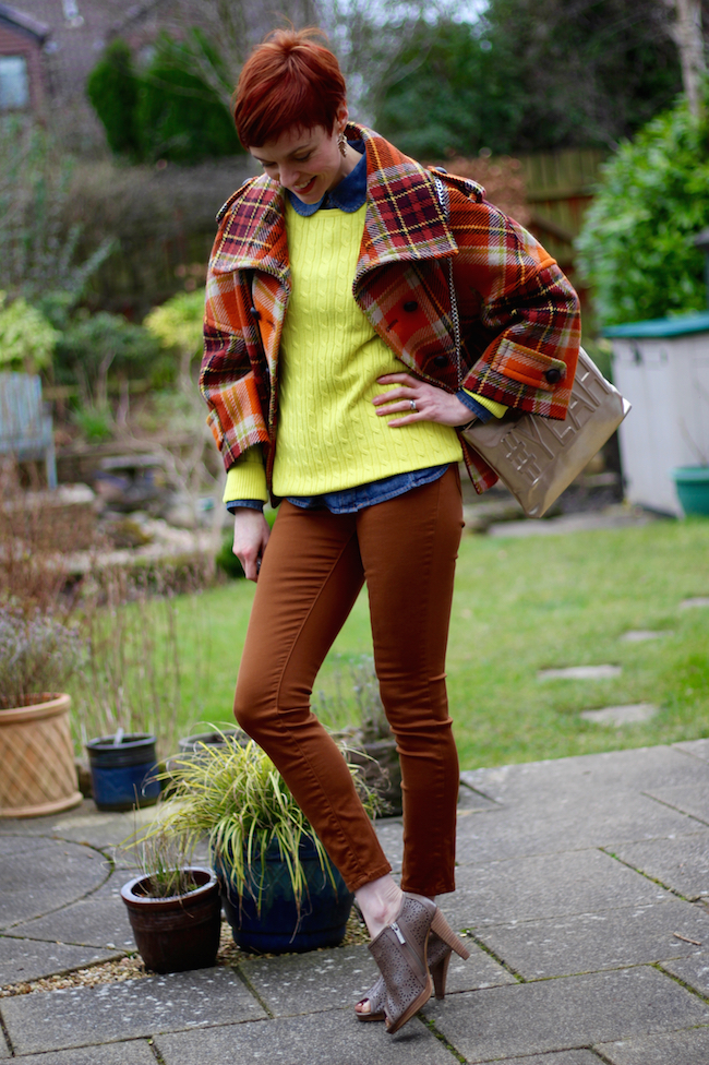 Fake Fabulous | Tartan jacket, yellow and brown.