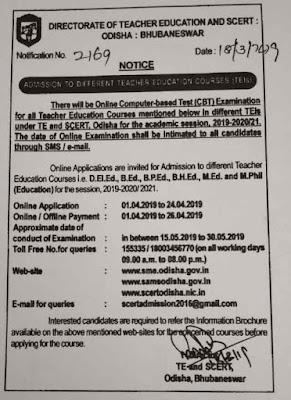 Odisha SCERT CT B.Ed Admission 2019