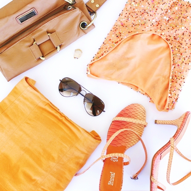 Best fashion flatlays Orange outfit