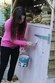 painting a shed pink