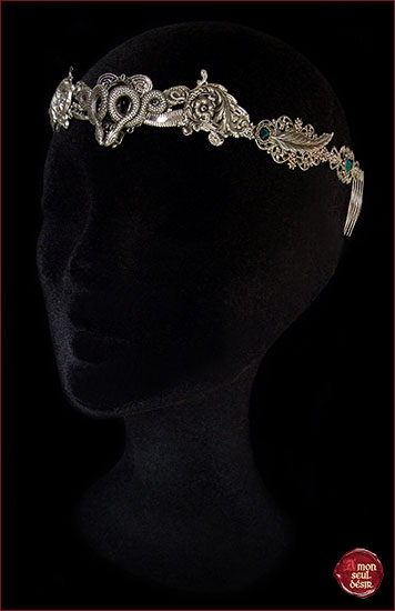 couronne serpent argent vert emeraude serpentard vouivre femme serpent mythologie crown slytherin silver snake green emerald medusa gorgona circlet mythical snakes headdress