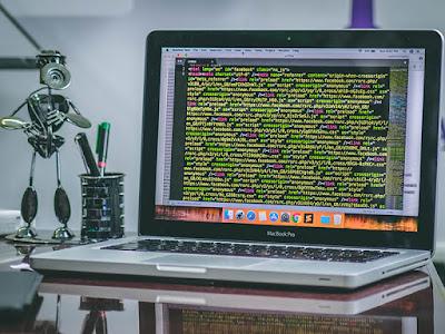 developer desktop with a computer