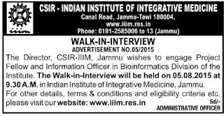 Walk in Interview for Information Officer and Project Fellow in CSIR IIIM Jammu