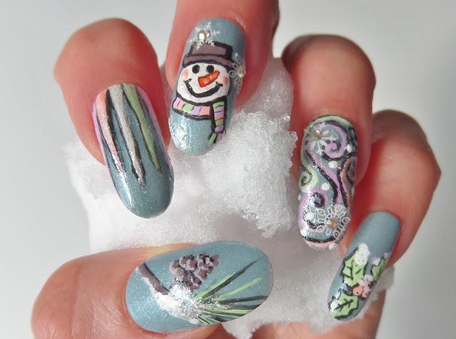 winter snowman nail designs