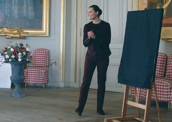 Crown Princess Victoria wore By Malina Trousers and Greta short jacket, Erdem and H&M collection blouse