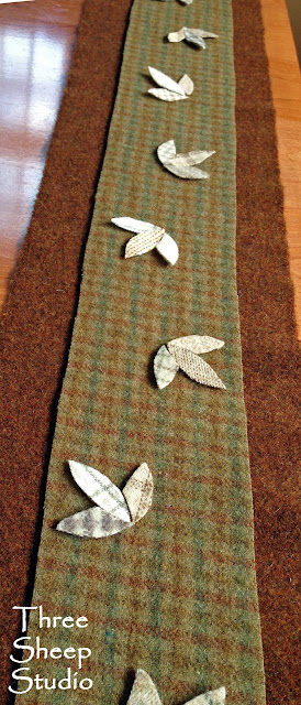 Wool Applique Table Runner by Rose Clay at ThreeSheepStudio.com