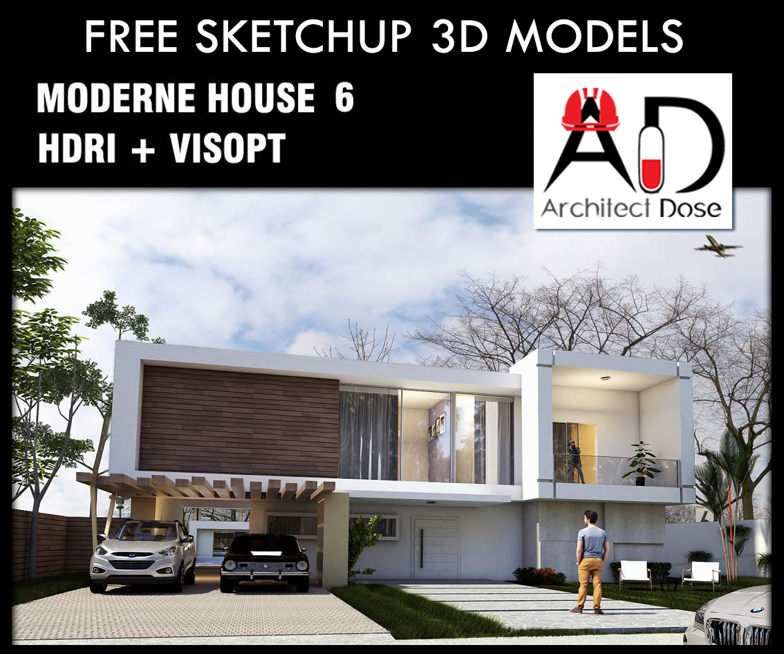 Architect dose architecture sketchup tutorials models for Minimalist house sketchup