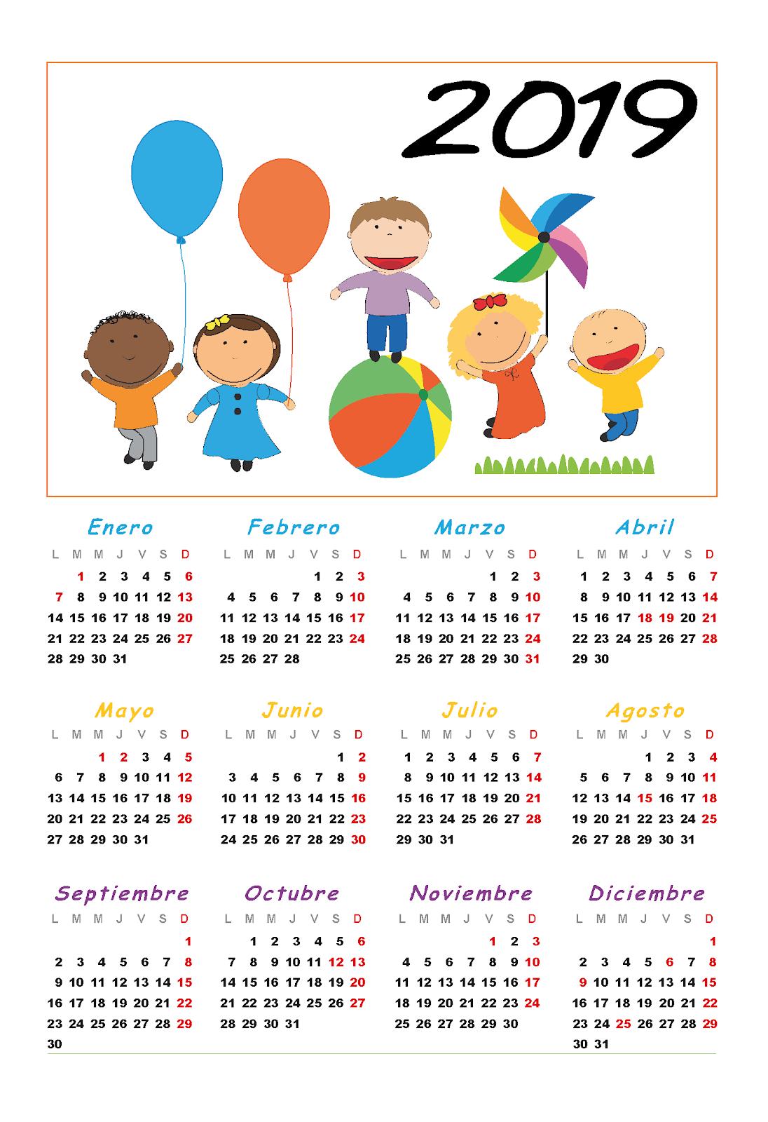 Actividades Para Educación Infantil Calendarios Para 2019 4 4