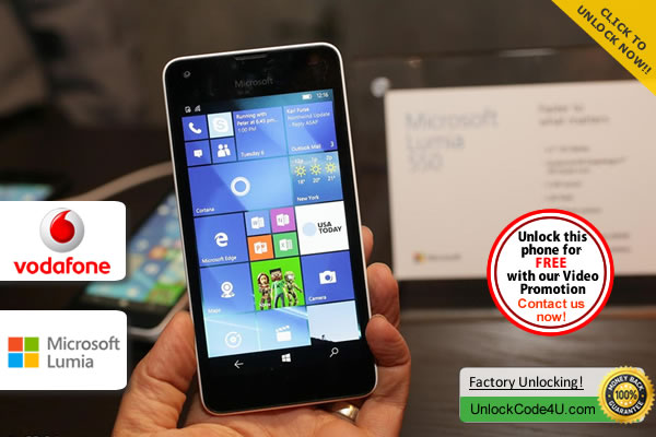 Factory Unlock Code Microsoft Lumia 550 from Vodafone