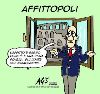 affittopoli, case a roma, affitti, satira vignetta