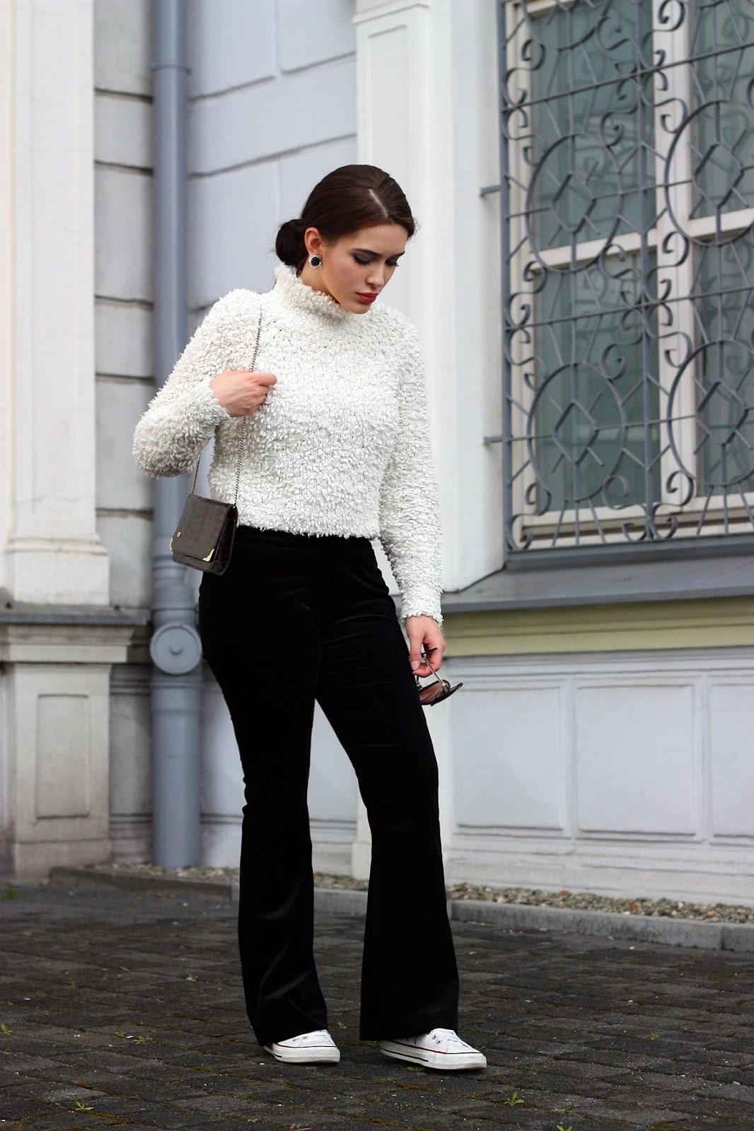 fluffy sweater, welurowe spodnie, velvet pants, flares, flare pants, spodnie dzwony
