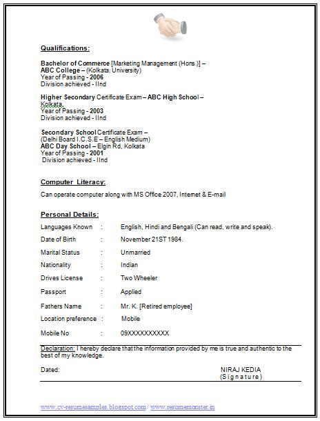 ms office literacy sample resume