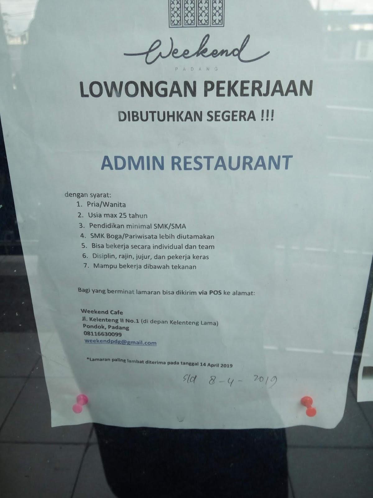 Lowongan Kerja Admin Restaurant Adsanjaya