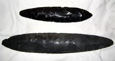 cuchillos de pedernal y obsidiana