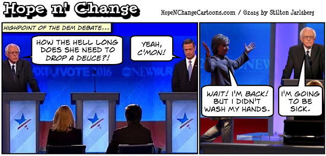 obama, obama jokes, political, humor, cartoon, conservative, hope n' change, hope and change, stilton jarlsberg, democratic, debate, bernie sanders, hillary, bathroom