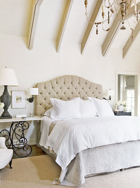 Gorgeous neutral decor in serene bedroom design by Eleanor Cummings