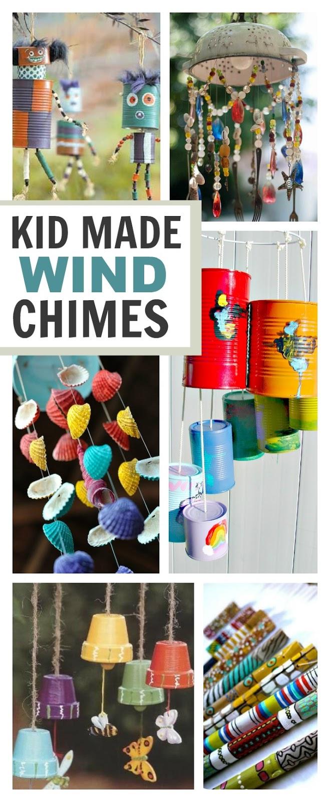 20+ wind chime crafts kids can make- these are BEAUTIFUL!  I want to make them all! #windchimesdiy #winchimeshomemade #windchimesdiykids  #springcraftsforkids #kidscrafts #craftsforkids #springactivitiesforkids #artsandcraftsforkids #activitiesforkids