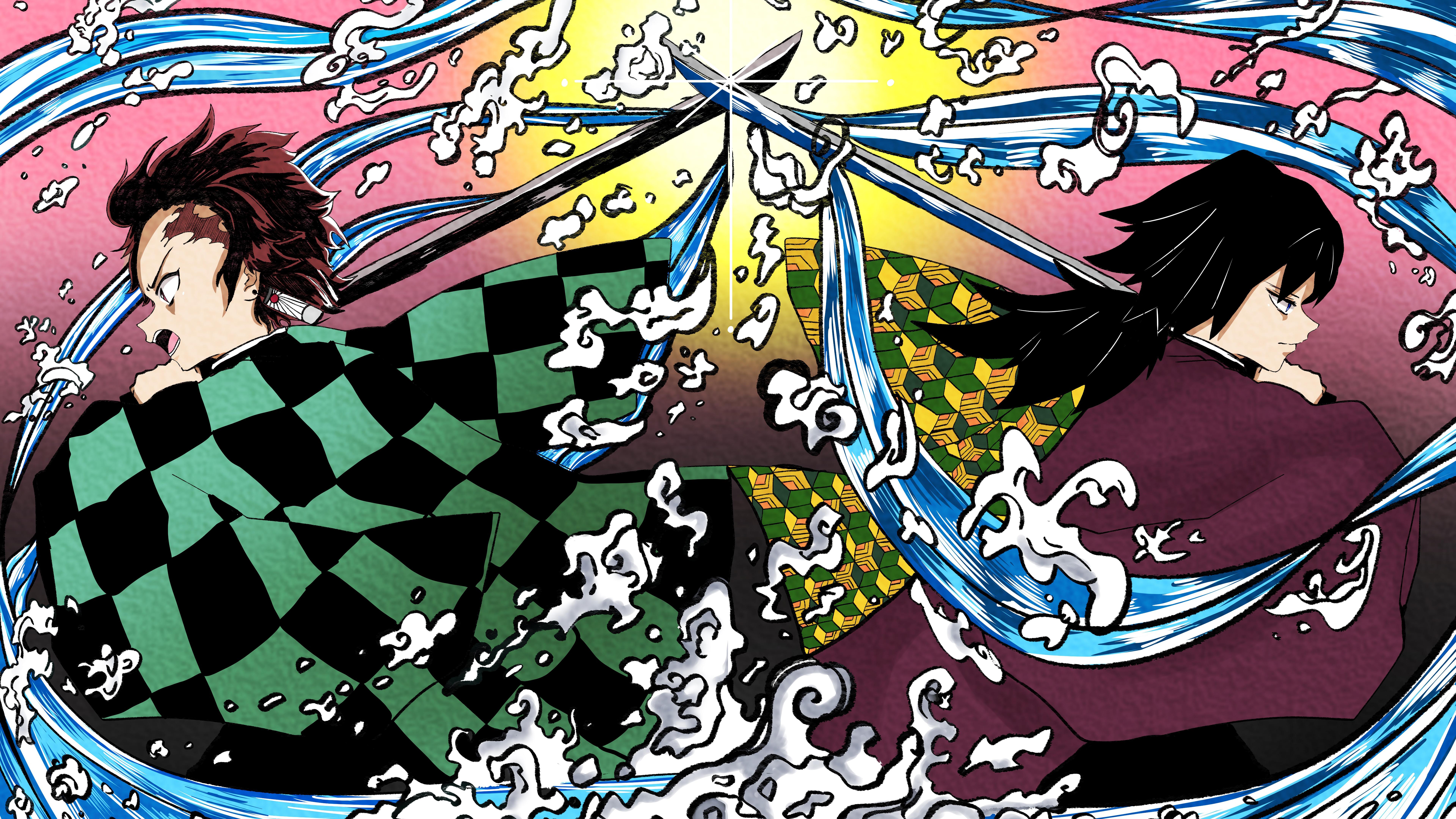 Tanjiro Kamado Giyu Tomioka Kimetsu No Yaiba 8k Wallpaper 140