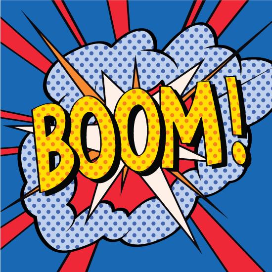 Efecto de cómic de gran golpazo que pone Boom!