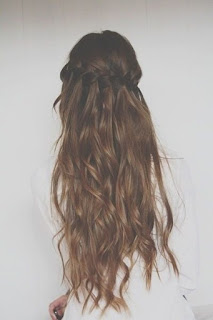 Waterfall braided wavy hair