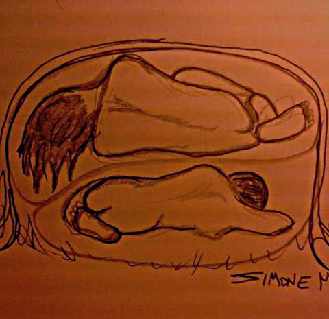 Simone McLeod pencil drawing Twins in Sweat Lodge Womb