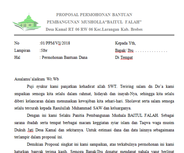 Contoh Proposal Permohonan Bantuan Dana Masjid Cute766