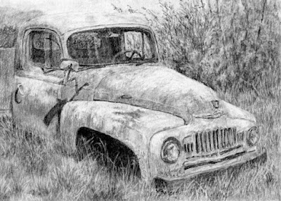 art drawing truck international charcoal abandoned rusty derelict