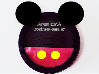 Tema Mickey em E.V.A Reciclando relógio de parede que não funciona