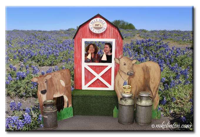 Women in Blue Bell barn photo op