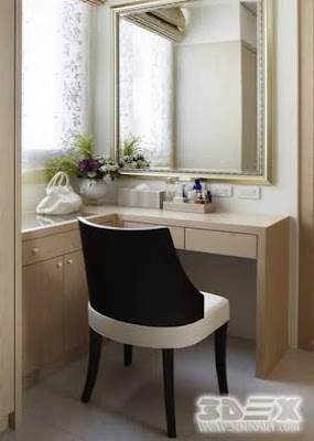 white wooden corner dressing table designs for modern bedroom