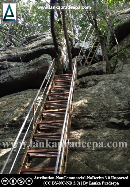 Ladders have been fixed at some places to climb the rock, Govinda Hela