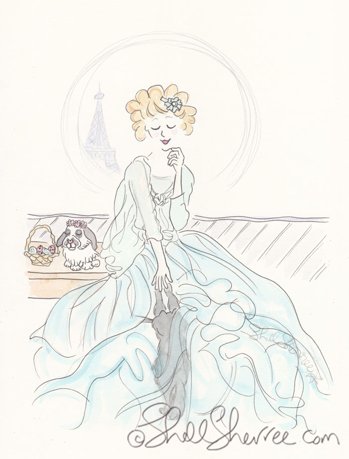 Aqua Fluffing Easter in Paris Fashion & Fluffballs Illustration © Shell-Sherree
