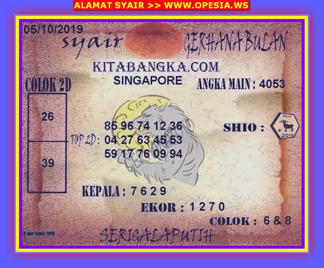 Kode syair Singapore Sabtu 5 Oktober 2019 80