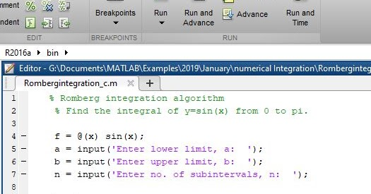 Romberg integration algorithm using MATLAB - MATLAB Programming