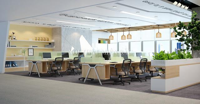 Các chuyên gia tư vấn thiết kế văn phòng cũng thường xuyên áp dụng giải pháp không gian mở để mang tới những văn phòng làm việc