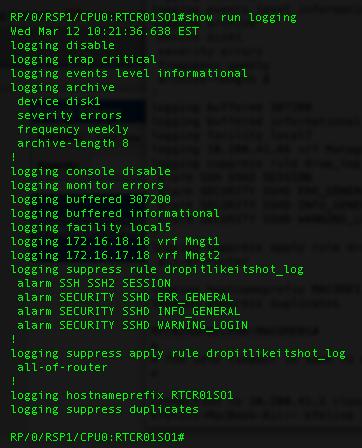 Ken Felix Security Blog: Logging suppression IOS-XR